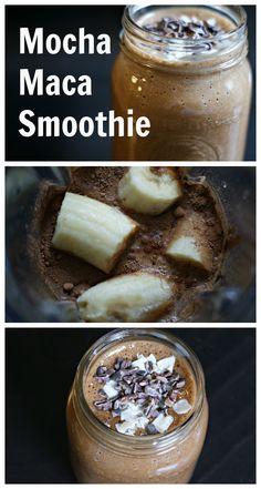 Mocha Maca Smoothie Recipe + The benefits of cacao and maca powder http://myspiritualroadtrip.com/2015/04/mocha-maca-smoothie-recipe-the-benefits-of-cacao-and-maca-powders/