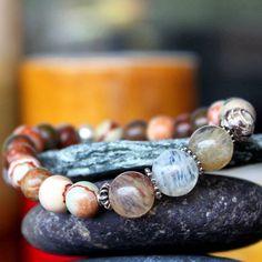 Ocean jasper, citrine and sterling silver bracelet