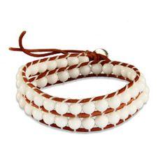 Chen Rai White Beaded Brown Wrap Bracelet #chenrai #white #beaded #brown #wrapbracelets