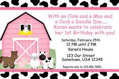Barn Yard Farm Animals Pink Invitations PRINTABLE - Birthday Party - Baby Shower