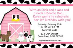 Barn Yard Farm Animals Pink Invitations PRINTABLE - Birthday Party - Baby Shower