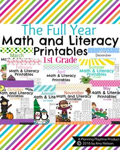 Grade Math and Literacy Printables - The Full Year BundleCCSS This bundle of grade math and literacy printable worksheets are a No Prep, fun way to start out the school year. The 250 worksheets are ready to be copied and passed out. 1st Grade Math Worksheets, First Grade Math, Grade 1, Printable Worksheets, Printables, Kindergarten Worksheets, Math Literacy, Kindergarten Math, Fun Math