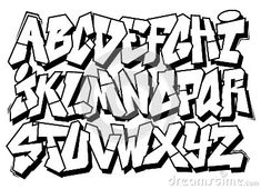 Classic street art graffiti font type alphabet by Foreks, via Dreamstime