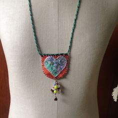 Fabric jewelry with heart, beaded heart necklace, pastel heart textile jewelry on adjustable kumihimo cord, valentine's gift, gift for her by NellieLaan on Etsy