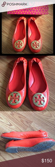 Tory Burch Red Patent Reva Flats Size 7.5 • Authentic • wore 1-2x but haven't worn them since. Didn't wear them as much as I thought I would. They are the traditional Reva flat with red patent leather with gold colored Tory Burch emblem at toe of shoes. Great with skinny jeans or dressed up. You can still see the shoe sticker reminders on the soles. Tory Burch Shoes Flats & Loafers