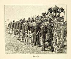1887 Wood Engraving Elephants Riders Patiala Punjab India Animal Ornate Costume #vintage #india #elephant