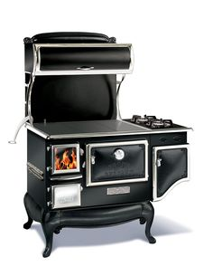 """""""functional wood burning stove with side gas burners, heat your home and have an awesome looking retro stove"""" this is so going in my house Wood Burning Cook Stove, Wood Stove Cooking, Kitchen Stove, Kitchen Appliances, Vintage Appliances, Kitchen Reno, Old Stove, Stove Oven, Wood Fuel"""
