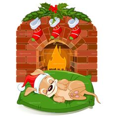 CLIPART DOG SLEEPING FRONT FIREPLACE | Royalty free vector design