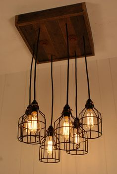 Cage Light Chandelier - Cage Lighting - Industrial Lighting - Edison Bulb - Upcycled Wood-Hand Made in USA |