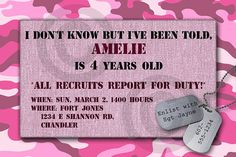 Pink camo party invitation for girls  #camouflage #girls #military