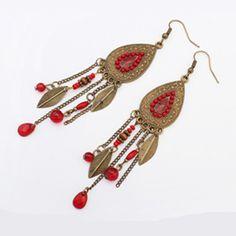 Lady's Bohemia Water droplets Fringe Pendants Multi Color Tassel Drop Earrings for Women