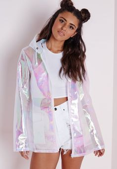♥ uchuu kei, holographic fashion, space grunge ♥ Holographic Rain Mac Pearlescent Pink - Coats and Jackets - Rain Macs - Missguided Festival Mode, Festival Outfits, Festival Fashion, Look Fashion, Fashion Outfits, Womens Fashion, Fashion Trends, 80s Fashion, Holographic Fashion