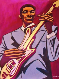 "HUBERT SUMLIN PRINT POSTER man cave guitar cd lp record album vinyl gibson les paul bartolini howlin wolf chess chicago about them shoes. CHOOSE PRINT SIZES 9x12"" ($70) or 18x24"" ($130)-This quality giclee print is part of my extensive portfolio. I am the artist John Froehlich, aka FRO-ART-This is a ""READY TO FRAME"" REPRODUCTION PRINT on quality gloss archival paper.-PRINT will be professionally packed and shipped in a sturdy mailing tube, via USPS Priority Mail.-My vibrant colored…"