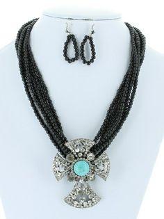 DivaByDzine - Black Bead Bling Rhinestone Cross Necklace Set, $14.99 (http://www.divabydzine.com/black-bead-bling-rhinestone-cross-necklace-set/)