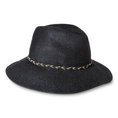 Women's Fedora Hat with Braided Sash and Wide Brim - Black
