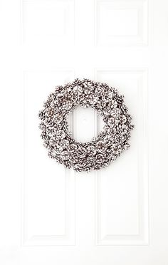 boxwood clippings | painted pinecone wreath