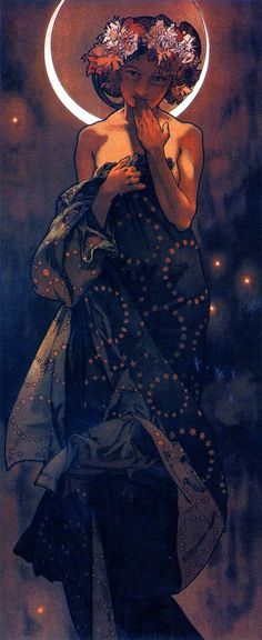 The Moon by Alphonse Mucha on imgfave