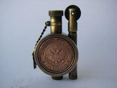 Handmade Petrol Lighter decorated with Old Russian Coin Retro Lighting, Antique Lighting, Cool Lighters, Zippo Lighter, Smoking Accessories, Woodworking Crafts, Perfume Bottles, Pc Game, Brass