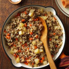 Hearty Skillet Supper Recipe -When the weather starts turning cooler, I start to hear requests for this dish. The light soy, onion and garlic flavors blend nicely with fresh carrots and potatoes in this budget-minded recipe. —Pat Jensen, Cottonwood, Minnesota