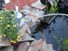 Make your own pond spitter. Get a pump/ some tube / n a old tin watering can.