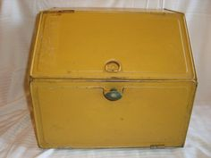 Bread Box Vintage Bread Box Rusty Crusty Yellow by TheCookieClutch