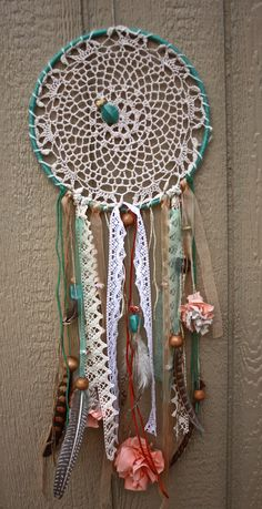 Doily Dream Catcher  Shabby Chic Pastels by ButtonsNPearl on Etsy