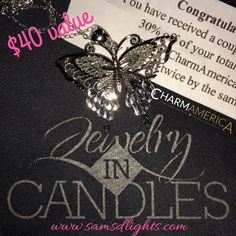 This beautiful butterfly necklace is sterling silver, and valued at $40 from www.charmamerica.com! I am in love with the Pink Flame collection so far and cannot wait to see what is to come! $49.95 is the cost of these beautiful candles, and you are guaranteed at least a sterling silver piece! #JICScents #SamsdLights #Jasmine #Candles