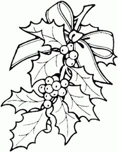 Christmas Holly Coloring Pages