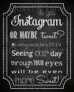 Chalkboard Instagram Sign Wedding Decor by QuinnAndLaneDesigns
