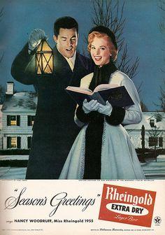 """Rheingold """"Seasons Greetings"""" vintage ad.  1955"""