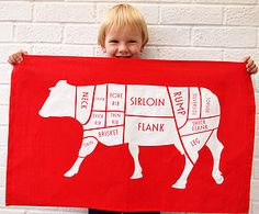Butchers Beef Cuts Tea Towel - kitchen
