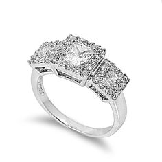 Clear Cubic Zirconia Mystere Halo Heart Ring Rhodium Plated Sterling Silver