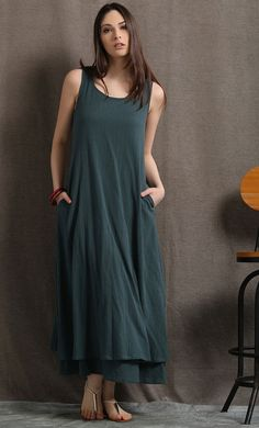 Layered Linen Maxi Dress Long Sage Green Casual door YL1dress