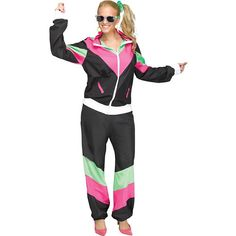 The Sweat Suit Costume for women includes a black, green, and pink retro-style workout jacket and matching workout pants. Everyone at the Halloween party will be ready to get physical when you show up in this costume! Best 80s Costumes, Cool Halloween Costumes, Adult Costumes, Costumes For Women, Halloween Rules, Retro Halloween, Funny Halloween, Halloween 2019, Diy Costumes