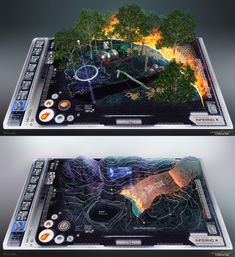 Hunger Games - Fire Interfaces by `Rahll on deviantART Future Interface Design Ui, Game Ui Design, Graphic Design, Gui Interface, User Interface Design, Futuristic Technology, Technology Gadgets, Game Concept, Concept Art