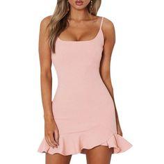Mini dress - Women lady sleeveless solid color dress sundress fashion for summer beach – Mini dress Casual Party Dresses, Tight Dresses, Short Dresses, Maxi Dresses, Dress Party, Pink Mini Dresses, Summer Dresses, Looks Rihanna, Dress Outfits