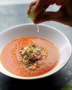 Roasted Red-Pepper Soup with Quinoa Salsa, Wholeliving.com #healthylunches