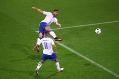 Graziano Pelle of Italy scores his team's second goal during the UEFA EURO 2016 Group E match between Belgium and Italy at Stade des Lumieres on June 13, 2016 in Lyon, France.