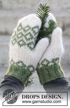 "Christmas Magic - DROPS Joulu: Kuviolliset DROPS käsineet ""Air""-langasta. - Free pattern by DROPS Design"