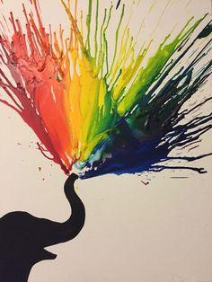 63 Ideas for melted crayon art diy creative Club D'art, Art Club, Art Du Croquis, Art Diy, Elephant Art, Elephant Crafts, Melting Crayons, Crayon Melting Crafts, Art Plastique