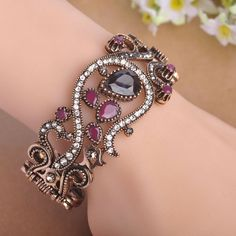 Day 365 New Turkish Adjustable Wide Bangle Exquisite Handmade Carved Flowers Antique Silver Plated Simulated Resin Full Crystals