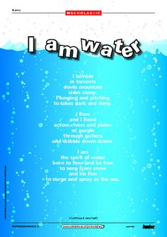 Use our themed poems to celebrate the world and our environment. Year 4 Classroom, Science Classroom, Teaching Science, Water Poems, Poems About Water, Cool Science Experiments, Science For Kids, Proverb With Meaning, Free Poems