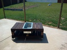 Patio table w/ built in cooler I made out of pallets