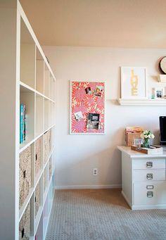 use paper/fabric  over bulletin boardpreppy home office // pinboard detail