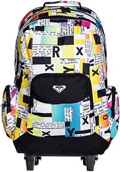 ROXY BIG GIRLS' FREE SPIRIT BACKPACK, BLOCK TYPE VIBRANT YELLOW, ONE SIZE    - Click image twice for more info - See a larger selection of yellow  backpacks at http://kidsbackpackstore.com/product-category/yellow-backpacks/ - kids, juniors, back to school, kids fashion ideas, teens fashion ideas, school supplies, backpack, bag , teenagers girls , gift ideas, yellow