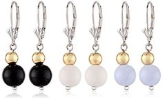 Two-Tone Sterlin gSIlver and 18K Yellow Gold over Silver Black, White and Blue Agate Three Piece Drop Earrings Jewelry Set -- Check this awesome product by going to the link at the image.
