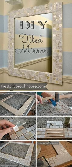 Pretty DIY Tiled Wall Mirror Adele: Would like to re-purpose existing bathroom mirrors by incorporating a new frame for each mirror. Still need a medicine cabinet on side wall that is spacious, yet covered with a mirror. What is the name of latches where you touch mirror and door opens like magic, a touch latch? Can I craft frames like this myself for our bathrooms?