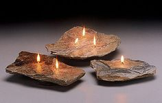 DIY Elegant Oil Burning Rock Lamps---(will burn for hours on a small amount of oil.) You will need: 1) rock/slate 1) 1/4 concrete drill bit ($2.00) 1) strip of cotton for wick, or a fiberglass wick (preferred) 1) glass jar for oil container 1) small bottle of gorilla glue (worth having around for a dozen applications) 1) bamboo or other material to surround glass jar.