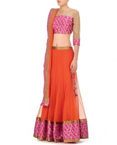 Adara Orange Lengha Set with Woven Hemline