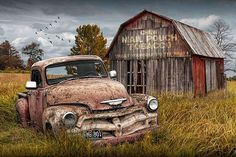 Rusted Chevy Pickup Truck In A Rural Landscape By A Mail Pouch Tobacco Barn by Randall Nyhof Abandoned Farm Houses, Abandoned Cars, Abandoned Vehicles, Chevy Wallpaper, Ford Classic Cars, Classic Trucks, Chevy Classic, Wallpaper Carros, Chevy Pickup Trucks